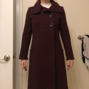 Soia & Kyo Burgundy Wool Coat